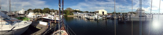 Vero Beach City Marina — View from our bow. Nice place to hang out for a week.